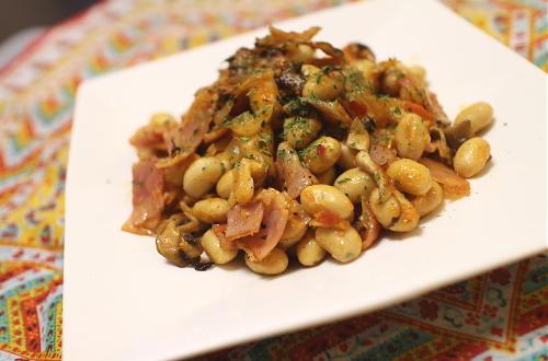 今日のキムチ料理レシピ:大豆のベーコンキムチマヨ炒め