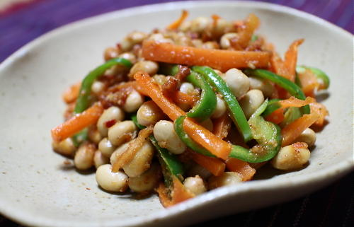 ニンジンと大豆のピリ辛ごま和えレシピ
