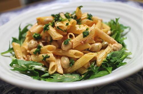 今日のキムチレシピ:大豆のキムチパスタサラダ