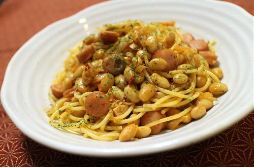 今日のキムチレシピ:ソーセージ大豆キムチパスタ