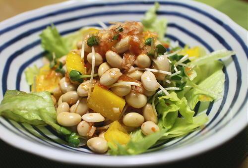 今日のキムチ料理レシピ:大豆とパプリカのキムチサラダ