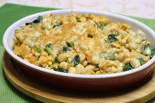今日のキムチ料理レシピ:大豆とキムチのチーズ焼き