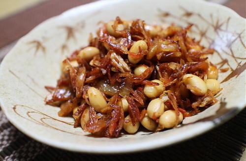 今日のキムチ料理レシピ:大豆のエビキムチ煮