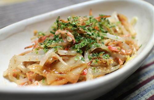 今日のキムチレシピ:もやしとキムチのソースマヨ和え