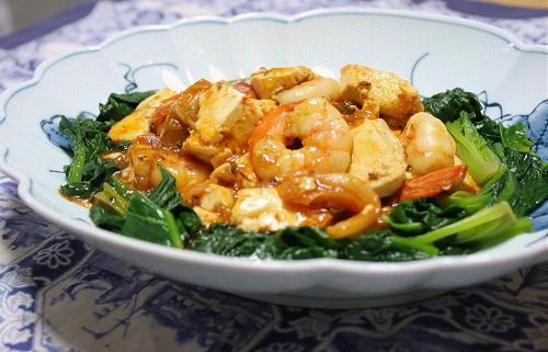 今日のキムチ料理レシピ:海老と豆腐のキムチ炒め