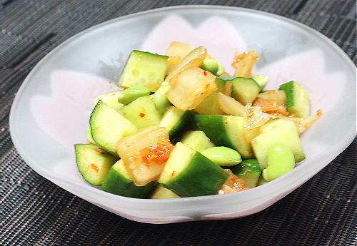 今日のキムチ料理レシピ: きゅうりと枝豆とキムチのサラダ