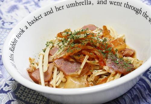 今日のキムチ料理レシピ:えのきとキムチのバターポン酢蒸し