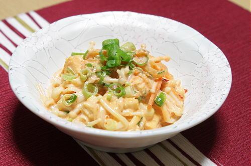 今日のキムチ料理レシピ:えのきのキムマヨ和え