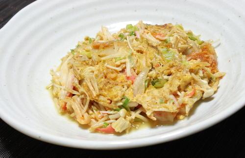 今日のキムチ料理レシピ:カニカマキムチ卵