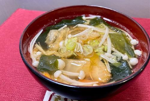 今日のキムチ料理レシピ:えのきとキムチのお吸い物