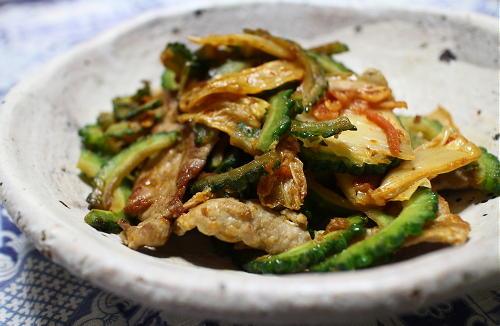 今日のキムチレシピ:ゴーヤと豚肉のキムチ炒め