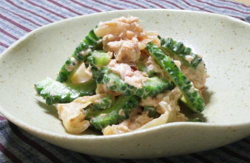 今日のキムチ料理レシピ:ゴーヤのツナキムチ和え