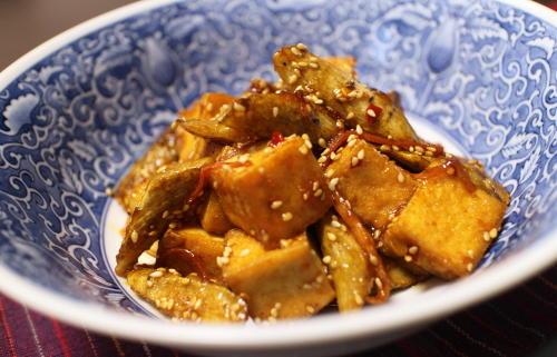 今日のキムチ料理レシピ:ゴボウと厚揚げのピリ辛和え