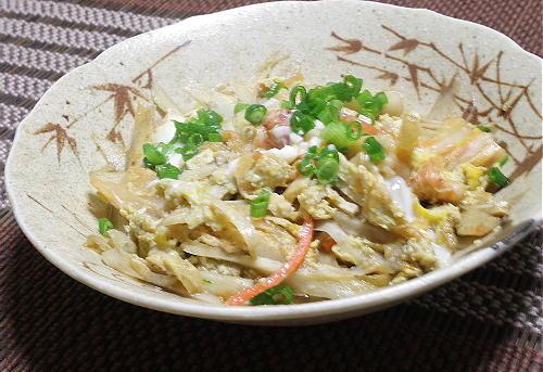 今日のキムチ料理レシピ:ごぼうとキムチの卵とじ