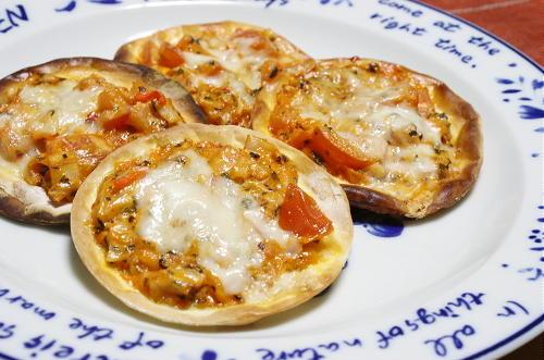 今日のキムチ料理レシピ:キムチ餃子ピザ