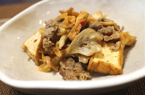 今日のキムチ料理レシピ:牛肉と厚揚げとキムチの煮物