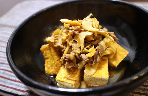 今日のキムチ料理レシピ:牛肉と厚揚げのピリ辛煮