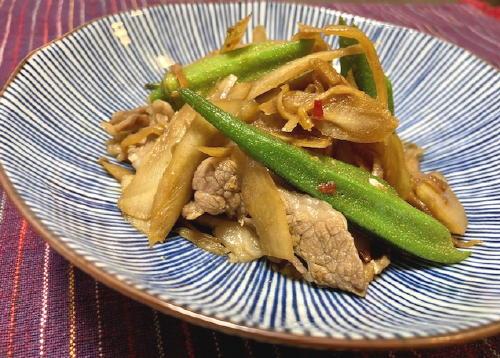 今日のキムチ料理レシピ:牛肉とオクラのキムチ煮