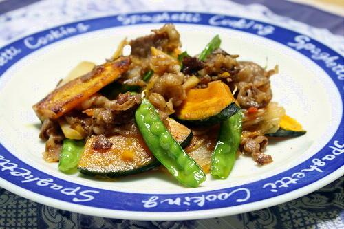 今日のキムチ料理レシピ:牛肉とかぼちゃのガリバタキムチ炒め