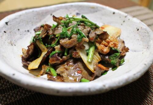 今日のキムチ料理レシピ:牛肉とクレソンのキムチ炒め