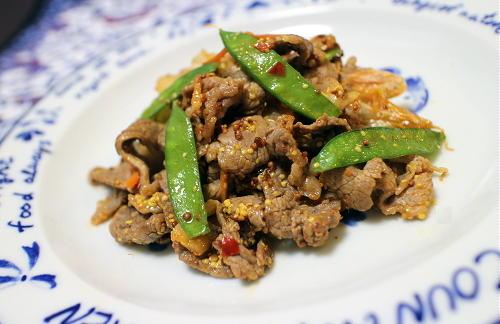 今日のキムチレシピ:牛肉ときぬさやのキムチマスタード