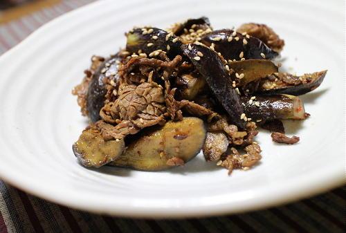 今日のキムチ料理レシピ:牛肉と茄子ピリ辛しぐれ煮