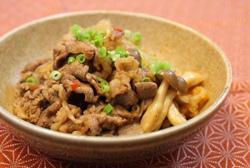 今日のキムチ料理レシピ:牛肉とキムチの甘辛煮