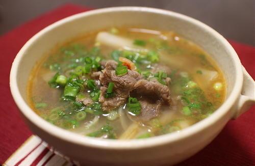 今日のキムチレシピ:牛肉のキムチスープ