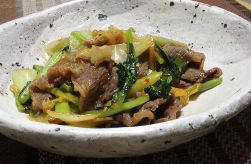 今日のキムチ料理レシピ:牛肉とターツァイの甘辛キムチ炒め