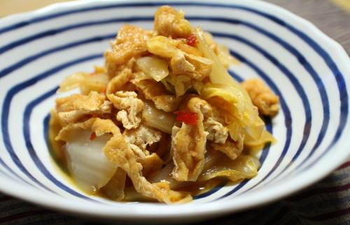 今日のキムチ料理レシピ:白菜と油揚げのピリ辛煮