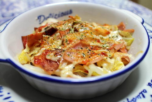 今日のキムチ料理レシピ:白菜とハムのマヨキムチ焼き