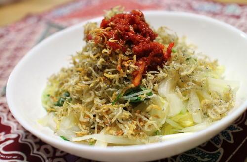白菜と水菜のピリ辛じゃこサラダレシピ