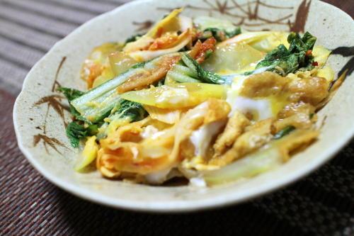 今日のキムチ料理レシピ:白菜と葱のピリ辛卵とじ