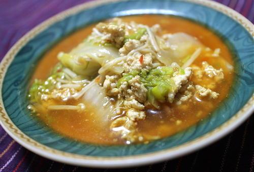 白菜とピリ辛鶏ひきあんレシピ