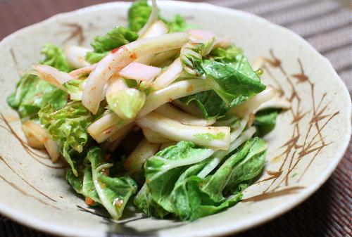 今日のキムチ料理レシピ:サラダ風白菜とハムの簡単キムチ