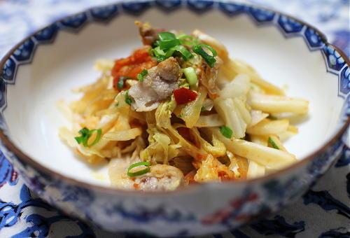 白菜と春雨のピリ辛レンジ蒸しレシピ