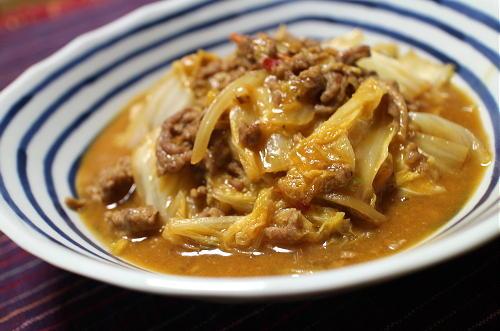 今日のキムチ料理レシピ:白菜のピリ辛ひき肉みそ炒め