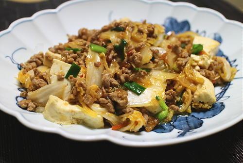 白菜と豆腐のキムチひき肉炒めレシピ