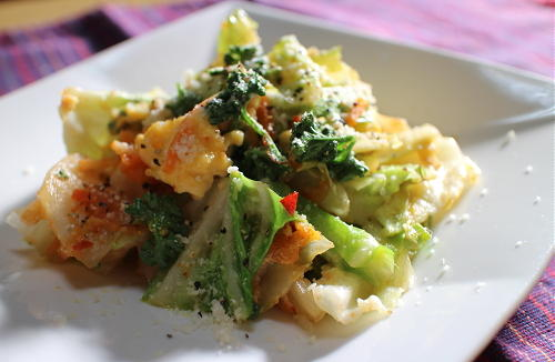 今日のキムチレシピ:春キャベツとキムチの卵炒め