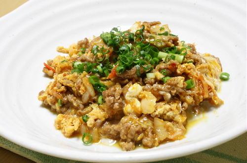 今日のキムチ料理レシピ:ひき肉とキムチの卵炒め