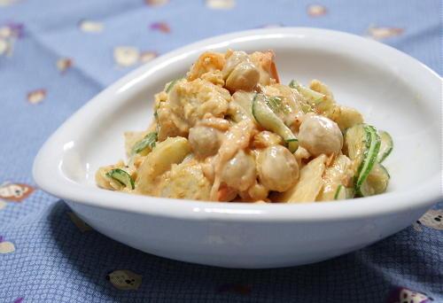今日のキムチ料理レシピ里芋とひよこ豆のキムチサラダ: