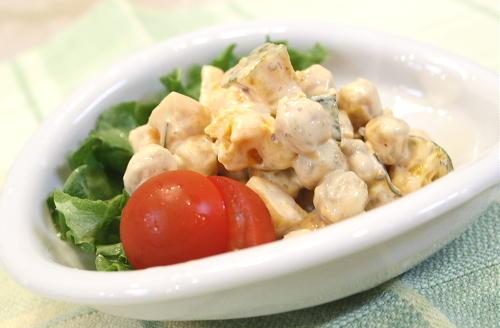 今日のキムチ料理レシピ:ひよこ豆とキムチのサラダ
