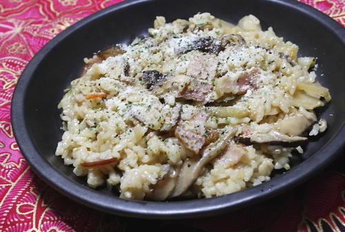 今日のキムチ料理レシピ:干しシイタケとキムチのリゾット