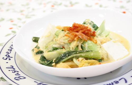 今日のキムチ料理レシピ:青梗菜とホタテとキムチのクリーム煮