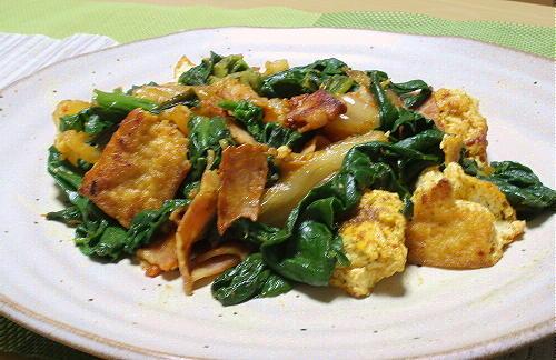 今日のキムチ料理レシピ:ほうれん草とキムチのカレー風味