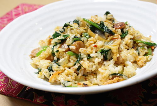 今日のキムチ料理レシピ:ほうれん草のキムチリゾット