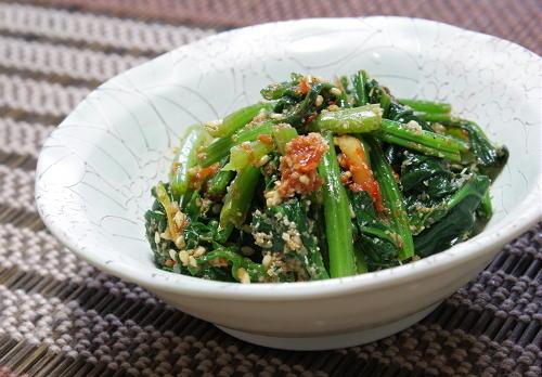 今日のキムチ料理レシピ:ほうれん草のピリ辛ナムル