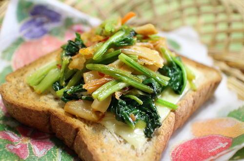 今日のキムチ料理レシピ:ほうれん草キムチトースト
