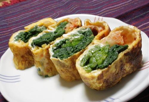 今日のキムチ料理レシピ:ほうれん草とキムチの卵焼き