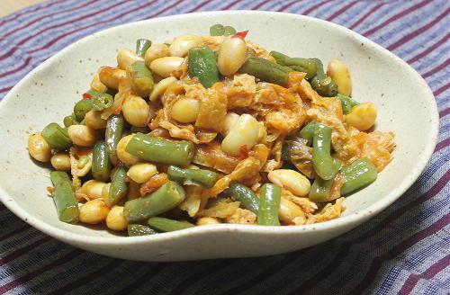 今日のキムチ料理レシピ:いんげんと大豆のピリ辛炒め